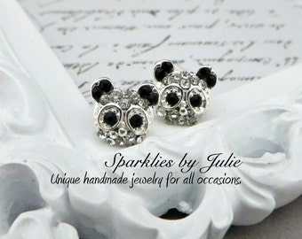 Little Rhinestone Panda Post Earrings ~  Ear Studs, Simple, Minimal, Sparkly