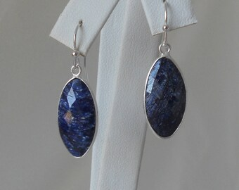Raw Sapphire Marquee Pendant Silver Earrings