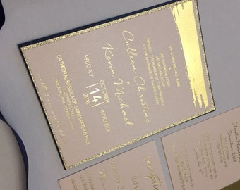 Blush wedding invitations,  Glitter Wedding Invitation, Blush and gold wedding invitation, Foil Invitations, Blush Invitations, Glitter