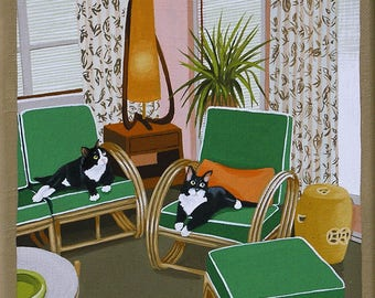 Mid Century Modern Eames Retro Limited Edition Print from Original Painting Tuxedo Cats