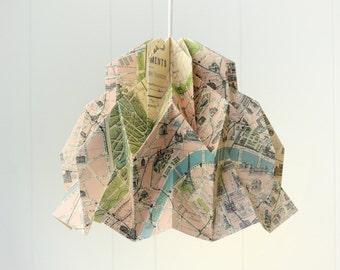 Limited Edition RUFFLE: Origami Paper Lamp Shade - Cavallini PARIS Map Print