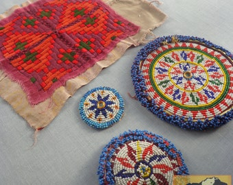 Vintage Tribal Talisman: Kuchi Beaded Remnant and Textile Remnant, Gul I Peron Patch Set #38