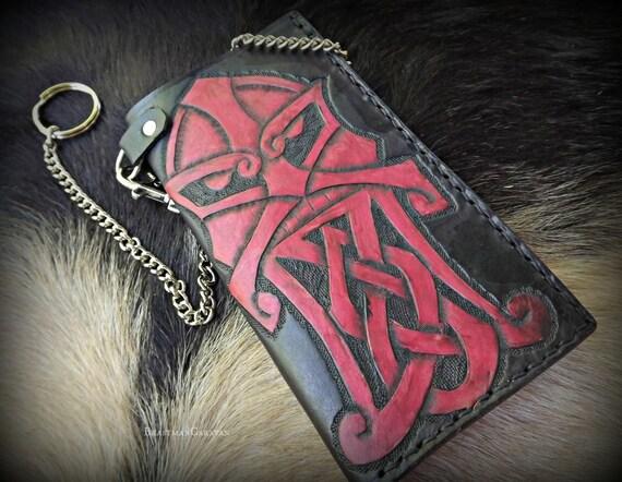 Viking Leather Wallet - Viking Berserker Godmask Knotwork Beard - Tall Leather Biker Wallet with Chain