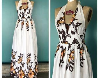 Backless Halter Maxi Dress, Boho Sundress, Long Halter Dress, Festival Dress, Summer Dress, Cotton Dress, Size 2 Small, TaraLynEvansStudio