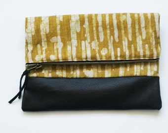 SALE: Fold Over Clutch- Brown Leather Maize Gold Stripe- Leather Zipper Pouch-Evening Clutch