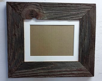 Authentic Barn Wood Frame 8 x 10 Inch with White Matting to 5 x 7 inch Picture, Recycled, RePurposed, Reclaimed, Vintage Farmhouse Frames