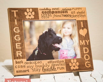 Personalized Dog Picture Frame Engraved on Wood-I Love My Dog Picture Frame-Color of Your Choice