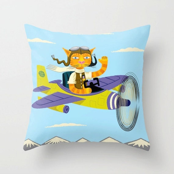 Tibbles Learns To Fly - Childrens Light Blue - Cat Throw Pillow / Cushion Cover -  iOTA iLLUSTRATION