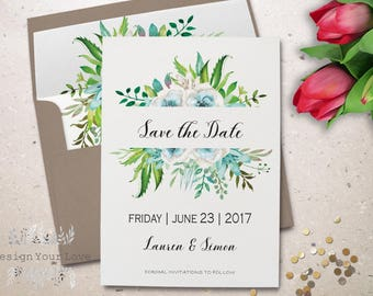 """printable save the date printable green wedding save the date leafy wreath greenery watercolor floral save our date wedding invite 5""""x7"""""""