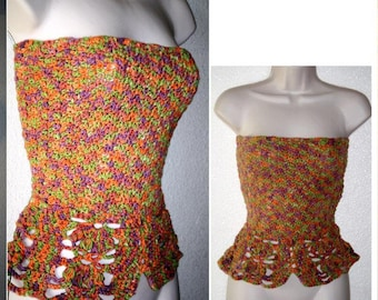 50% off Sale, Runway inspired, Bandeau, PEPLUM Spaghetti Strap TOP, Multi Orange , 30-34 Bust size, adjustable strapless or Spaghetti Strap