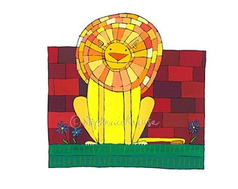 "Happy Lion - 8.5"" x 11"" signed digital Giclee print from original artwork"