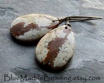 Jasper Earrings, Teardrop Earrings, Southwestern Jewelry, Oxidized Jewelry, Wire Wrapped Earrings, Rustic Jewelry, Organic Earrings