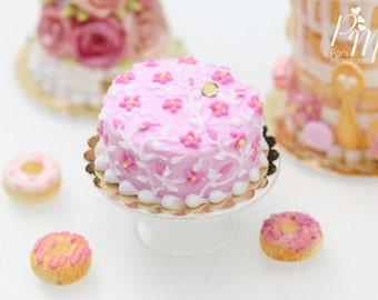 MTO-Light Pink Cake Decorated with Dark Pink Blossoms with Hand-Piped Stems - 12th Scale Miniature Food (Pink Collection 2016)