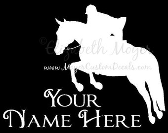 English Rider Hunter Jumper Jumping Horse Vinyl Decal Sticker YOU PERSONALIZE Name and Color