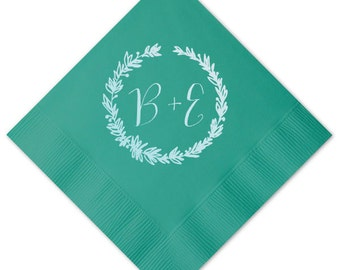 Woodland Wreath Frame Personalized Napkins - Set of 100 - Custom Printed Napkins, Foil Stamped Napkins, Party Favors