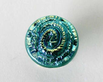 Iridescent Round Glass Button, Spiral Design, 11 MM, Blue Green Color, Jewelry Making, Button Clasp, Knitting, Fiber Art Supply