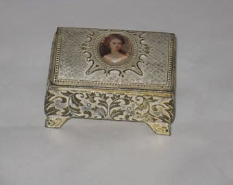 Vintage metal trinket box woman's portrait picture small