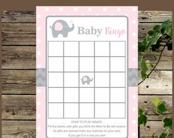 Elephant Baby Bingo, Printable Pink Elephant Baby  Shower Bingo, Instant Download, Baby Shower Game, Pink Elephant Baby Bingo