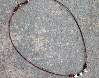 Necklace Eternity 03 Five-Pointed Stars Sterling Silver & Leather - Handmade (N203SS-L)