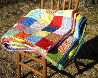 Patchwork Quilt, Classic Americana, double/full size  81 X 81  All Cotton blanket