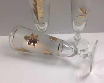 Vintage gold leaf Pilsner glasses, MidCentury Libbey gold leaf glasses, midcentury 50th anniversary glasses