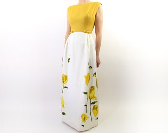 VINTAGE Dress Yellow Gown 1960s Floral Dress Long Extra Small