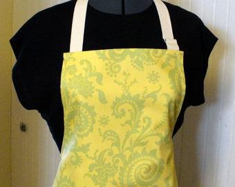 Amy Butler Fabric Womens Apron Full Apron Chefs Apron Adjustable Apron Wood Fern Celery Green Yellow Handmade MTO
