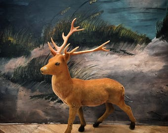 Just A Large Vintage Flocked Buck Deer Thats Been Around The Block