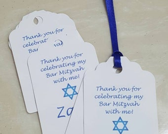 Personalized Favor Tags 2 1/2'', Bar Mitzvah  tags, Thank You tags, Favor tags, Gift tags,