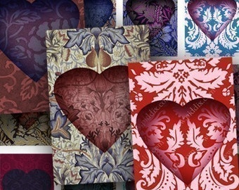 Damask Valentine Hearts Digital Collage Sheet in 1x1.5 inches Vintage Valentine Heart Printable Download for Jewelry Cards Crafts piddix 687