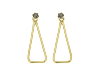 Ear Jacket Earring, Front Back Earrings, Gray Diamond Earrings, Gold Triangle Earrings, Solid Gold Earrings, Diamond Stud Earrings, GE0587