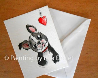 Boston Terriers Valentine Wishes,  whimsical watercolor Painting, valentine Heart, love, Boston Terrier Dog