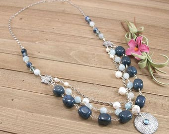 Aquamarine, Dumorterite, Sodalite, Freshwater Pearl, Swarovski Crystal Sterling Silver Necklace with PMC Metal Clay Pendant