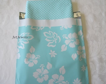 100 10x13 Poly Mailers, Poly Mailer, Mailing Envelopes, Shipping Envelopes, Blue Mailers, Teal Blue, Hawaiian Print, Plastic Mail Bags