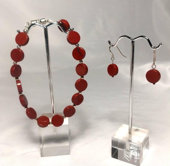 Red Jasper Bracelet and Dangle Earring Set
