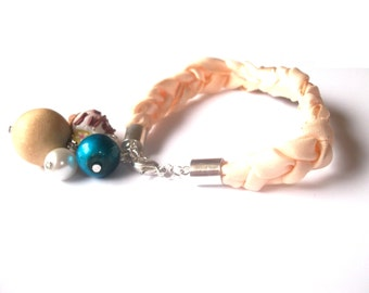 Braided Fabric Bracelet Beige ( vanilla ice cream polymer clay blue women girl gift modern charm handmade jewelry )