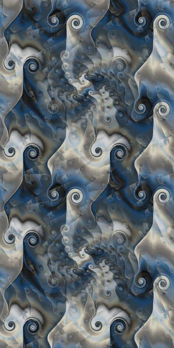 Artist Created Canvas Fabric Fiber Art Fabric Blue Sea Scrolls Circles