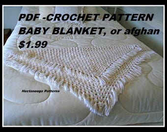 CROCHET PATTERN, Baby Blanket, Bed Throw, Bath Mat, Chair Throw, Shawl, Floor mat, afghan- # 995