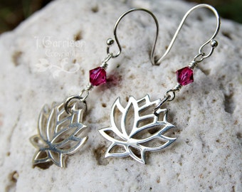 Peaceful lotus blossom earrings -  sterling silver flower & swarovski crystal, sterling silver hooks - fuchsia pink - free shipping USA