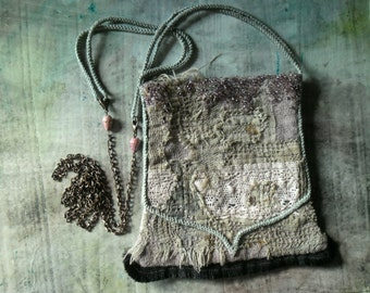 pixie.s dust.. .lovely delicate art nouveau small bag for her fairy bag romantic pastel mauve gray copper natural agate lace beaded chain