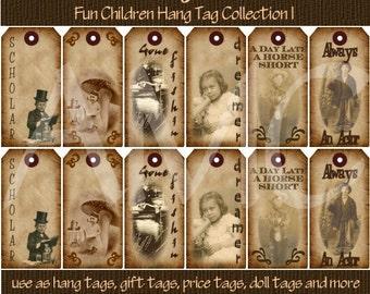 Primitive Vintage Kids Children Costume Image Printable Hang Tags for Scrapbooking Art