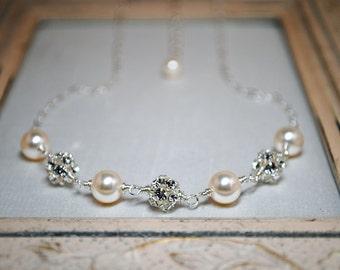 Bridal Necklace, Ivory Swarovski Pearl, Bridal Jewelry, Bridesmaids Jewelry, Wedding Necklace, Snow Crystals 65BGIV
