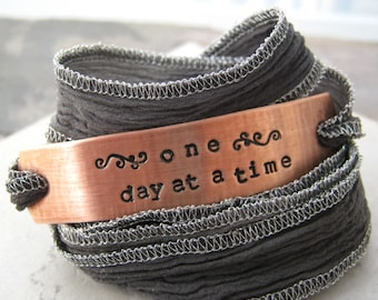 One Day At A Time Wrap Bracelet, hand dyed silk ribbon in choice of color, sobriety, recovery, motiviational, inspirational, encouragement