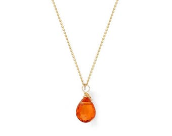 London Manori Mandarin Garnet Tear Drop Necklace
