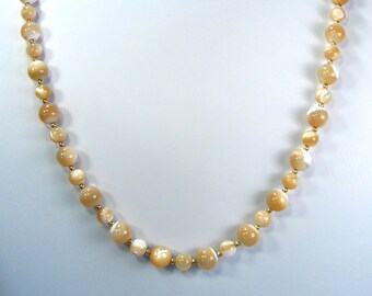 """Natural Mother of Pearl Necklace Gold 24"""""""