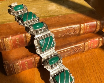 Vintage silver and chrysoprase cuff