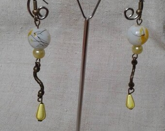 yellow and White Pearl Earrings