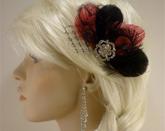 Bridesmaid Hair Accessories Set of 4 Bridesmaids Fascinators , Feather Fascinator, Bridesmaid, Black and Fuchsia ,Custom colors available