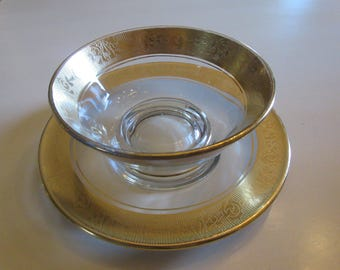 GOLD PAINTED BOWL and Plate