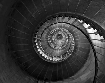 Staircase, Winding Stairs, Spiral Staircase, Large Wall Art, Lighthouse Decor, Geometric Art Abstract Art Lighthouse Art Black and White Art